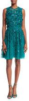 Elie Saab Sleeveless Embroidered Tulle Cocktail Dress, Emerald
