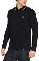 Pretty Green Men's Long Sleeve Tipped Pique Polo Shirt,XX-Large