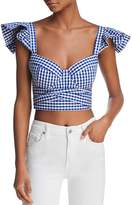 Petersyn Joplin Cropped Gingham Bustier Top