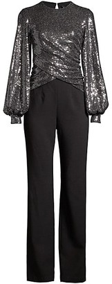 Black Halo Uno 2-Piece Sequin Puff-Sleeve Top & Crepe Pants Jumpsuit