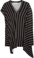 Balenciaga Draped Striped Stretch-jersey Top - Black