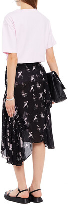 Preen Line Sumin Asymmetric Floral-print Crepe Skirt