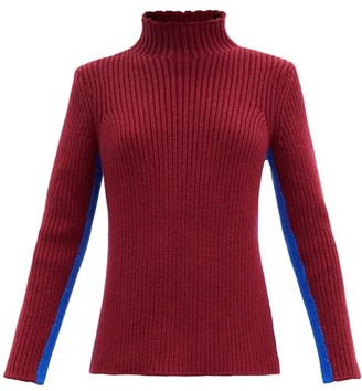 Colville - Striped Ribbed-knit Sweater - Burgundy