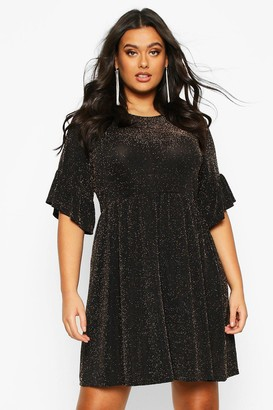 boohoo Plus Glitter Shimmer Smock Dress