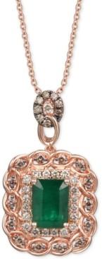 """LeVian Le Vian Costa Smeralda Emerald (1-1/2 ct. t.w.) & Diamond (5/8 ct. t.w.) 18"""" Pendant Necklace in 14k Rose Gold"""