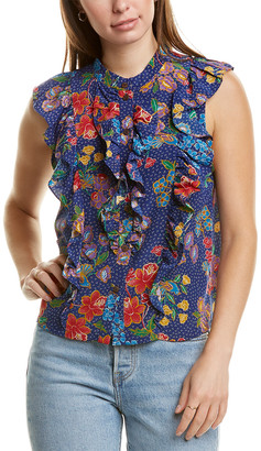 Warm Desert Floral Silk Blouse