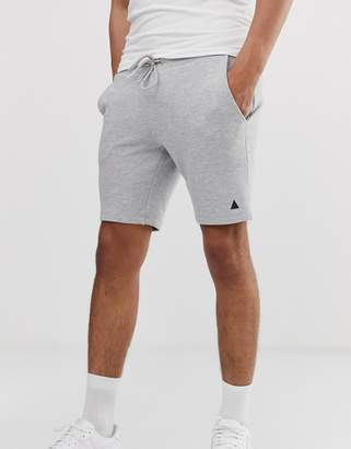 Asos Design DESIGN jersey skinny shorts in grey marl with triangle