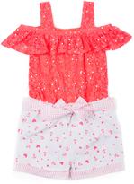 Little Lass Neon Coral & Ivory Polka Dot Romper - Infant Toddler & Girls