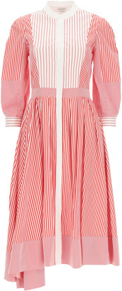 Alexander McQueen STRIPED SHIRT DRESS 40 White, Red Cotton