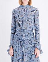 Erdem Ruffled Paisley Vine-printed silk-crepe blouse