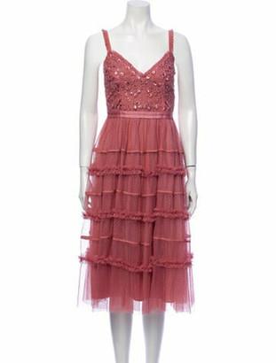 Needle & Thread Lace Pattern Midi Length Dress Pink