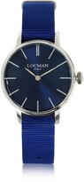 Locman 1960 Silver Stainless Steel Women's Watch w/Blue Canvas Strap