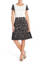 NUE by Shani Colorblock Laser Cut Crepe Fit & Flare Dress