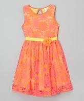 Mulberribush Pink & Orange Lace Rosette Jackie Dress - Toddler & Girls