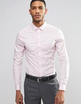 Asos Skinny Shirt In Pink With Long Sleeves