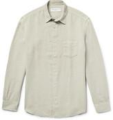 Officine Generale Benoit Slim-fit Slub Linen Shirt - Ecru
