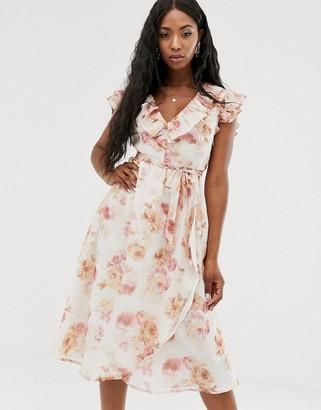 NA-KD Na Kd floral print v-neck sleeve less midi dress in off white