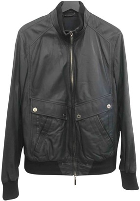 Versace Navy Leather Leather Jacket for Women