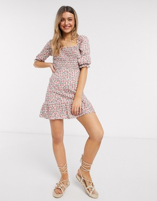 Miss Selfridge bardot mini dress in pink floral