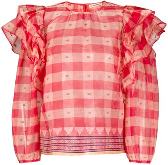 Ulla Johnson Ruffled Checked Blouse