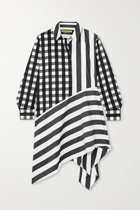 Marques Almeida Net Sustain Rem'ade Asymmetric Printed Cotton-poplin Shirt Dress - Black