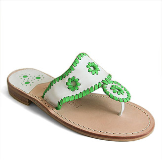 Jack Rogers Women's Sandals WHITE/GREEN - White & Green Jacks Flat Leather Sandal - Women