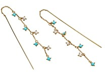 Nadri 18K Gold-Plated Cubic Zirconia & Stone Threader Earrings