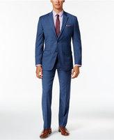 Tommy Hilfiger Men's Slim-Fit Stretch Performance Medium Blue Plaid Suit