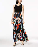 Vince Camuto Solid and Pleated Floral Chiffon Maxi Dress
