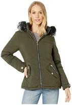 YMI Jeanswear Snobbish Snobbish Reversible Polyfill Jacket with Faux Fur Trim Hood (Olive/Black) Women's Clothing