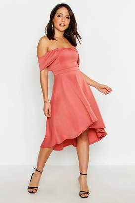 boohoo Pleat Detail Asymmetric Hem Midi Skater Dress