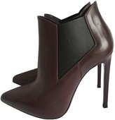 Saint Laurent Burgundy Leather Ankle boots