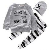 honeys Baby Boy Girl 3pcs Set Outfit Word Print Hoodies Top+Retro Striped Pants+Hat (6-12months, )