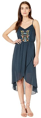 Miss Me Floral Embroidered Lace-Up Dress (Navy) Women's Dress