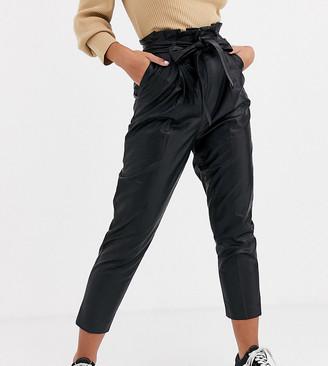 New Look Petite leather look pants in black