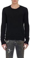 R 13 Men's Distressed-Edge Sweater-BLACK