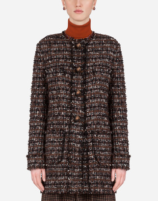 Dolce & Gabbana Short Jacket In Tweed With Horn Buttons