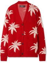 Amiri Intarsia Cashmere And Wool-blend Cardigan - Red