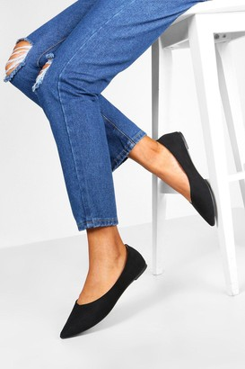 boohoo Wide Fit Pointed Flat Ballets
