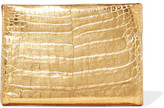 Nancy Gonzalez Metallic Crocodile Clutch - Gold