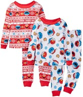 AME Sesame Street Elmo & Cookie Monster Holiday Cotton PJs - Set of 2 (Toddler Boys)