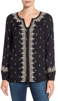 Lucky Brand Women's Embroidered Ditsy Print Top