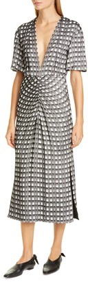 Proenza Schouler V-Neck Cap Sleeve Jacquard Dress