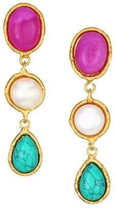 Sylvia Toledano Cascade Goldtone & Mixed Stone Triple-Drop Clip-On Earrings