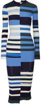 Opening Ceremony Striped Stretch-knit Midi Dress - Blue