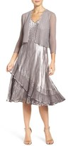 Komarov Petite Women's Ombre Dress & Chiffon Jacket
