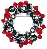 FERVENT LOVE Vintage Sliver Christmas Wreath Brooch Pin for Women