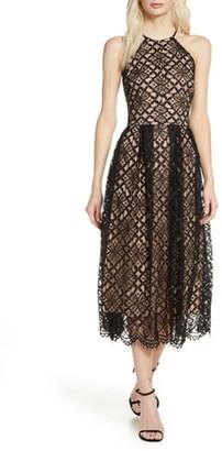 Chelsea28 Halter Lace Fit & Flare Midi Dress