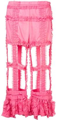 Comme des Garcons Pre-Owned cut-out frilled trousers