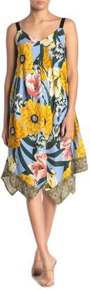 MSK Challis Floral Print Handkerchief Hem Dress